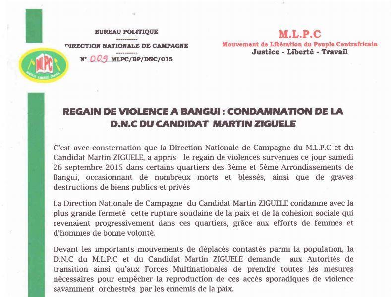 Regain de violence à Bangui : Condamnation de la DNC du candidat Martin ZIGUELE