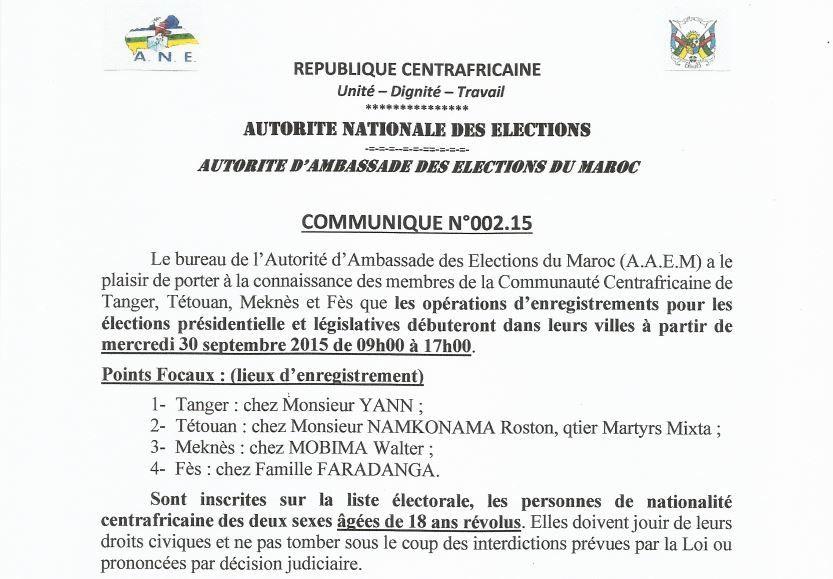 Communiqué de l'Autorité d'Ambassade des Elections du Maroc