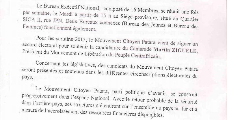 Le Mouvement Citoyen Patara (MCP) soutient Martin ZIGUELE