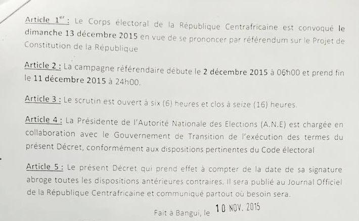 La présidente de la RCA valide le nouveau chronogramme électoral