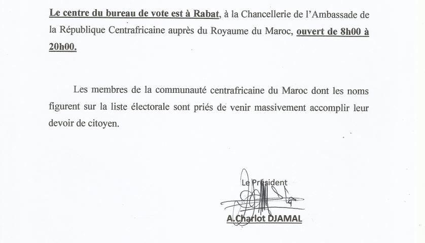 RCA Elections : Chronogramme pour le Maroc