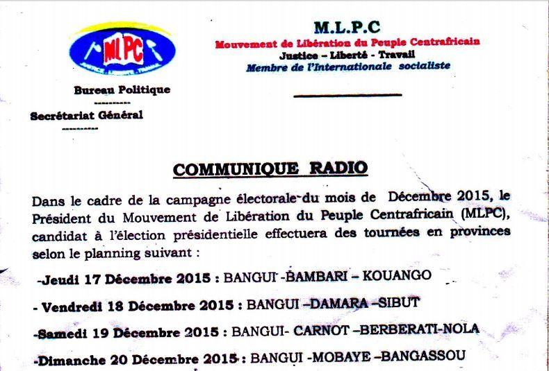 Programme des déplacements en province de Martin ZIGUELE