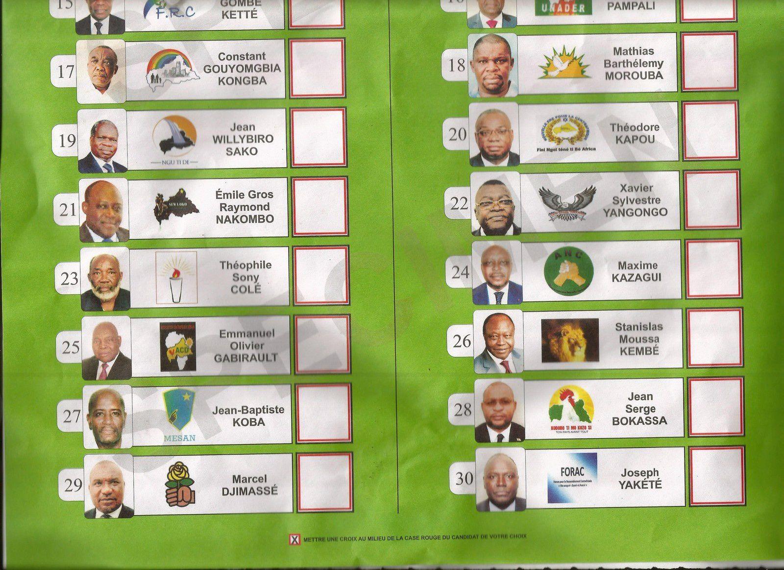 Specimen du bulletin unique de vote à la présidentielle