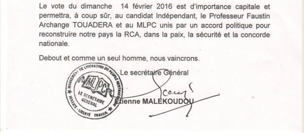 Appel du MLPC à voter massivement Faustin Archange TOUADERA