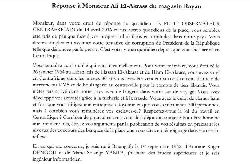 El Akhrass et Jean Daniel Dengou s'affrontent dans les médias