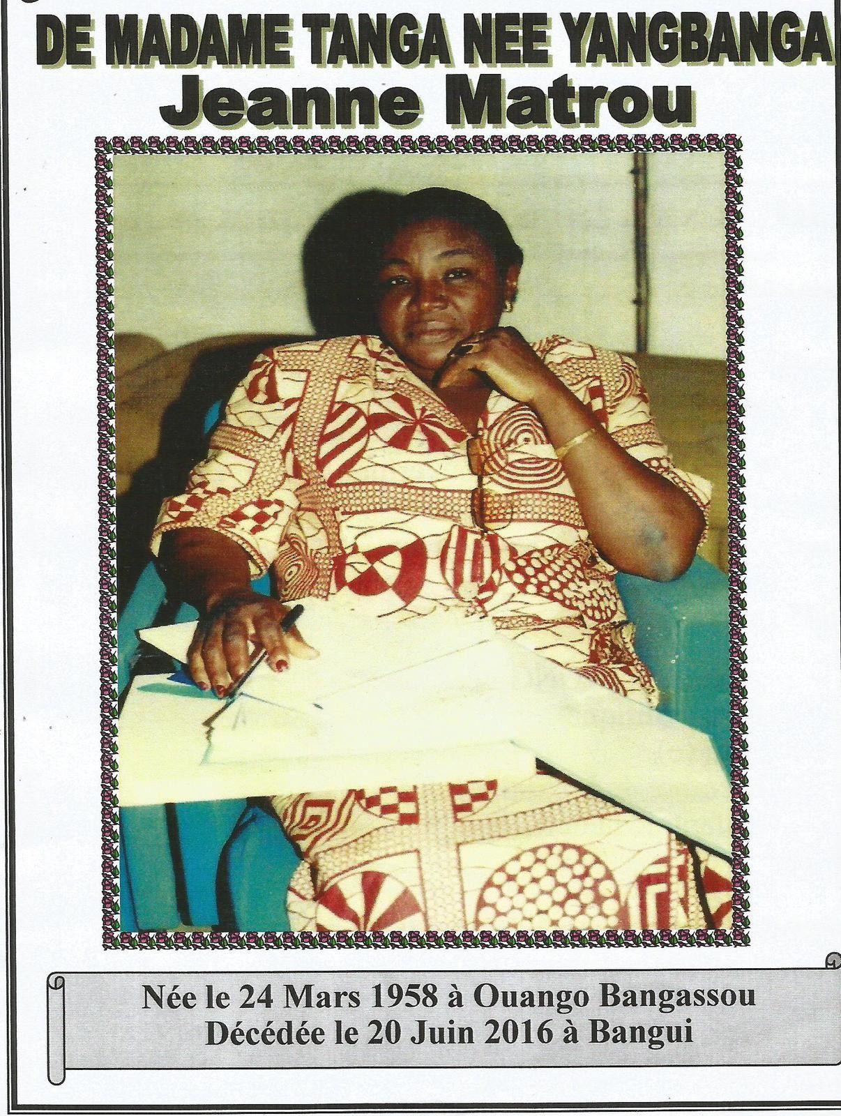 Obsèques de Mme Tanga née Jeanne Matrou Yangbanga