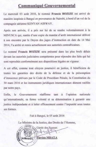 Arrestation de Francis Bozizé : COMMUNIQUÉ GOUVERNEMENTAL