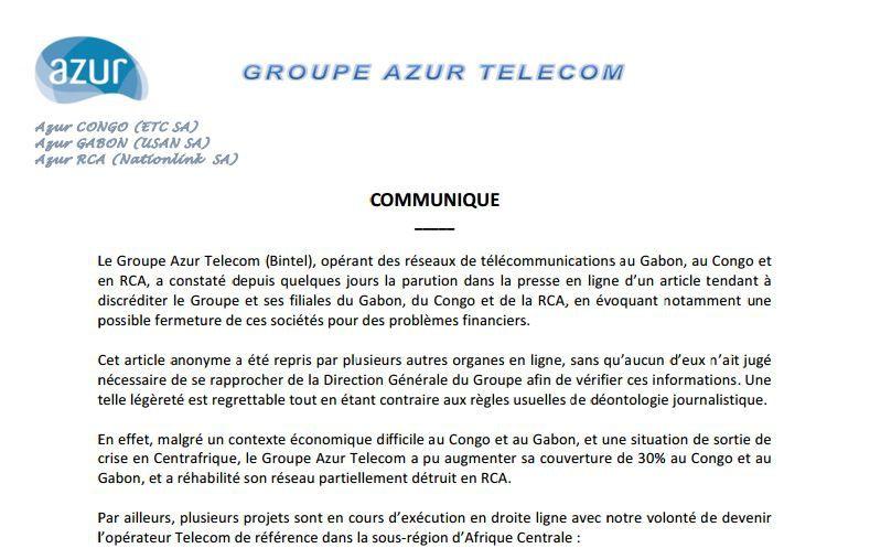 COMMUNIQUE DE PRESSE DU GROUPE AZUR