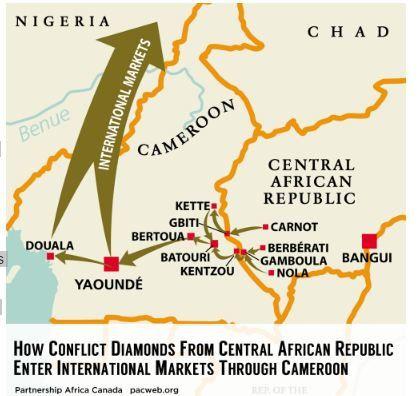Le Cameroun, &quot&#x3B;principal pays de transit&quot&#x3B; pour le trafic des diamants de Centrafrique (rapport)