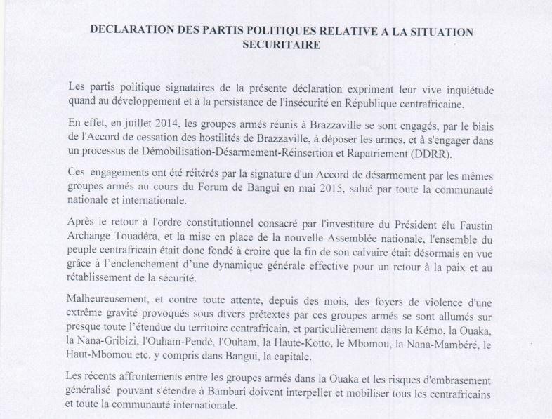 Recrudescence d'insécurité en RCA : Déclaration des Partis politiques