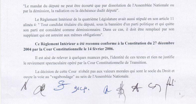 Déclaration des partis politiques sur la décision de la Cour Constitutionnelle de Transition relative au Règlement intérieur de l'Assemblée Nationale