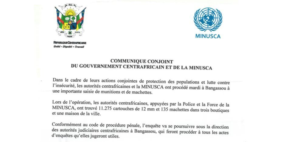 Communiqué conjoint du GVT centrafricain et de la MINUSCA