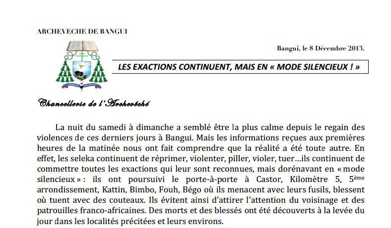 &quot&#x3B;Les exactions continuent mais en mode silencieux&quot&#x3B; : Conférence épiscopale centrafricaine