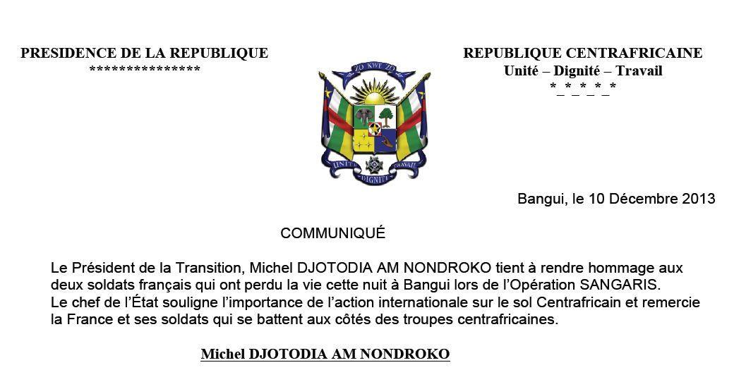 Mort de deux soldats français : La Présidence de Bangui réagit