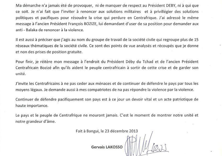 Communiqué de presse de Gervais Lakosso suite à des menaces de mort proférées contre sa personne