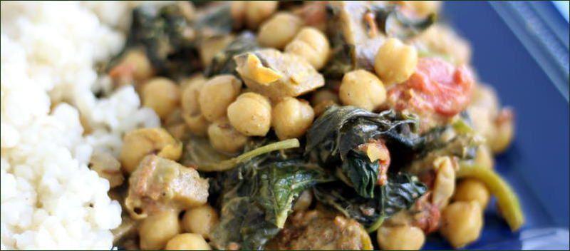 Pois chiches aux aubergines et aux épinards à l'indienne - Palak baingan aur channa (vegan)