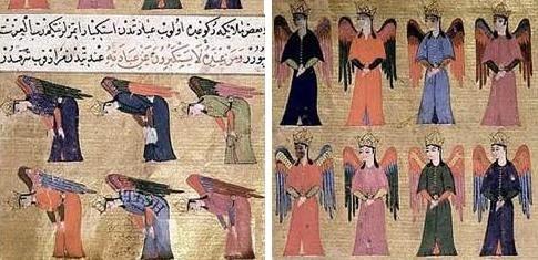 Miniatures : Hiérarchies angéliques. Manuscrit des 'Ajâ'ib al-makhlûqât wa-gharâ'ib al-mawjûdât, al-Qazwinî, XVIe siècle.