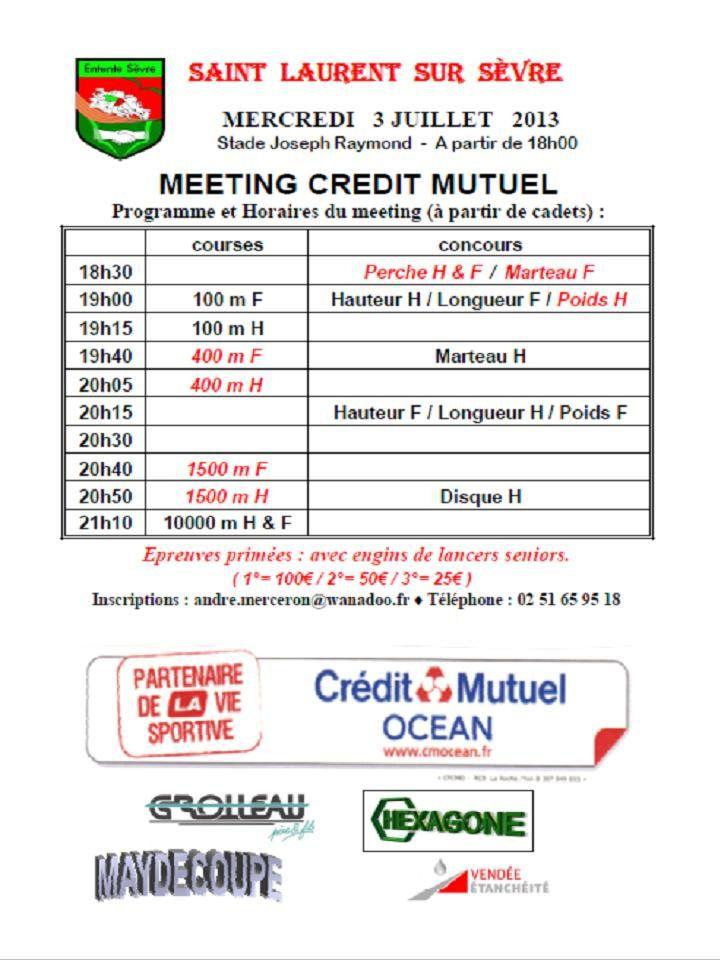 Meeting sur piste du 3 juillet à St Laurent sur Sèvre