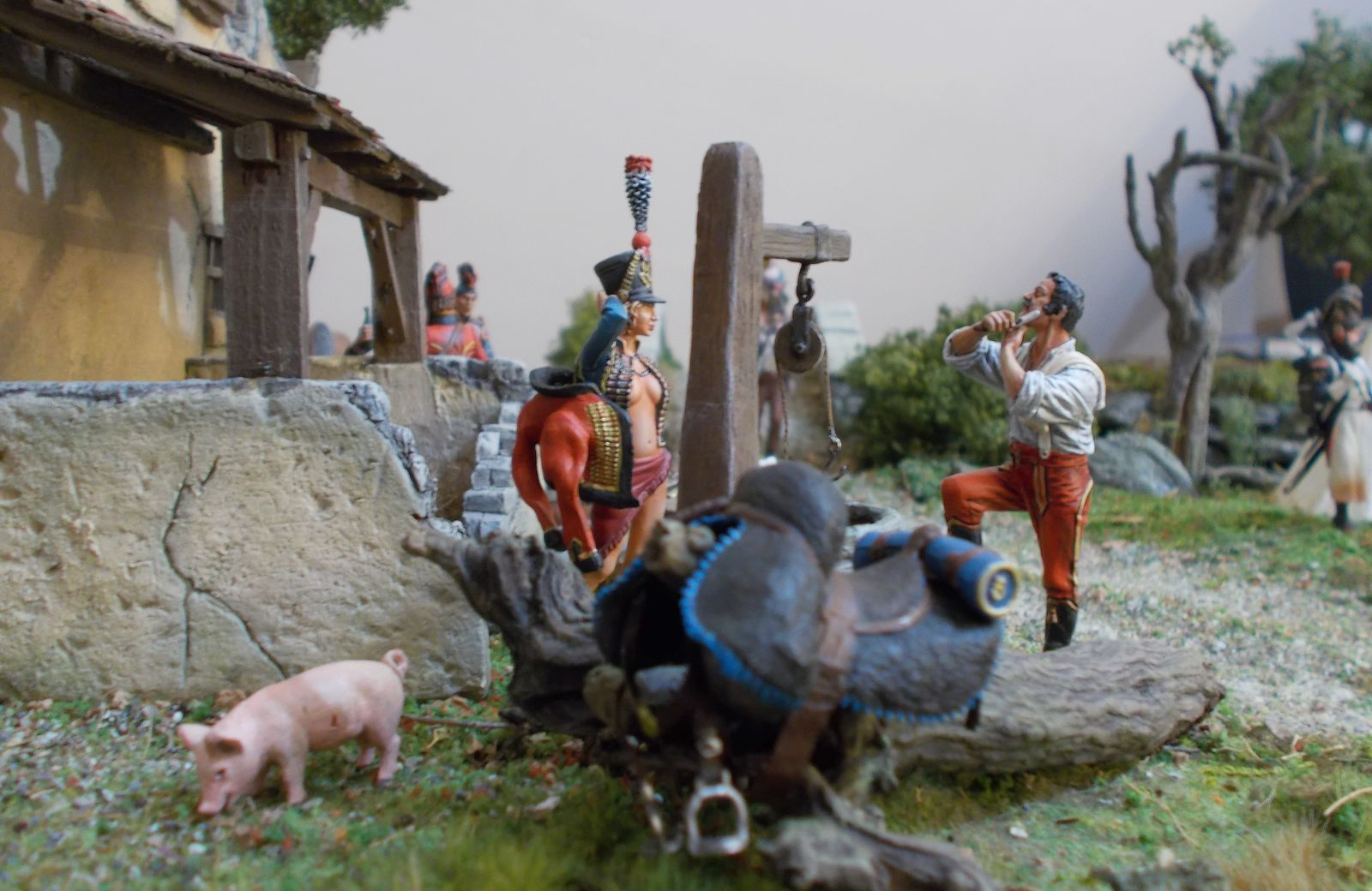 DIORAMA : vie quotidienne: Halte à la taverne   « la poule d'or » vers 1809