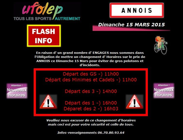 ATTENTION - Changement horaires Annois