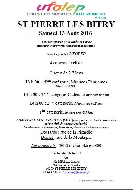 Course de ST-PIERRE LES BITRY du 13/08/16