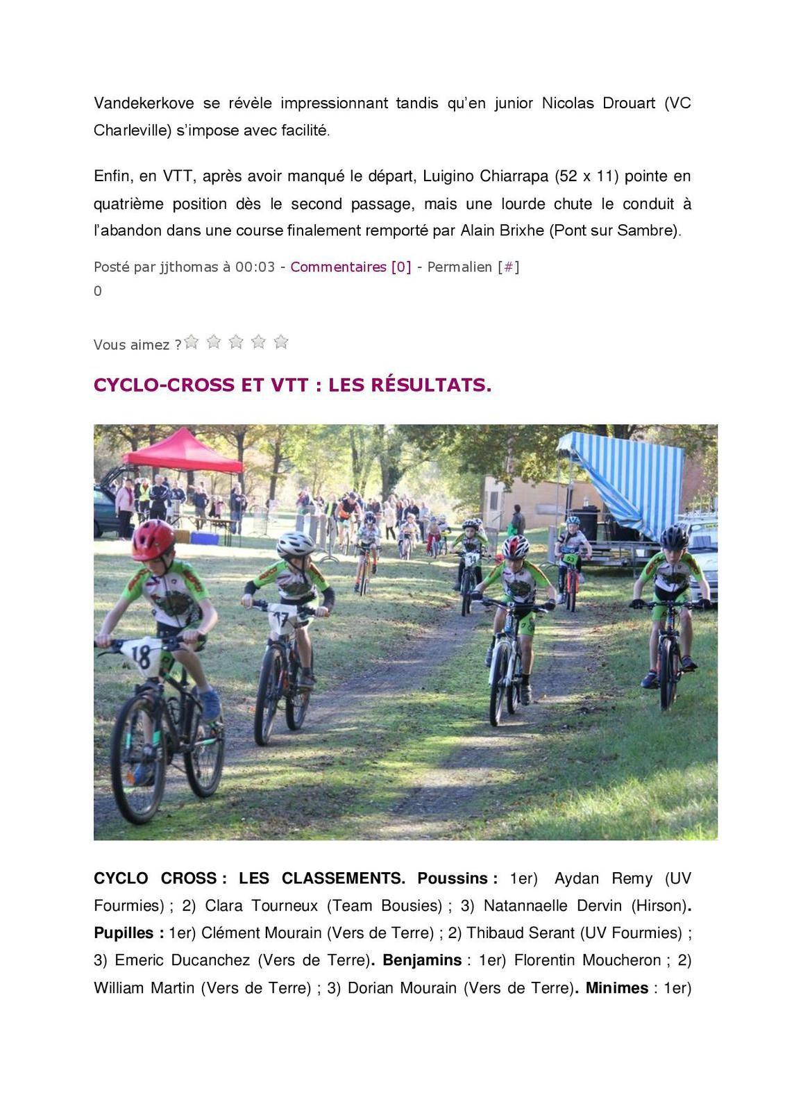 Résultats du CCX de BUIRE du 30/10/16
