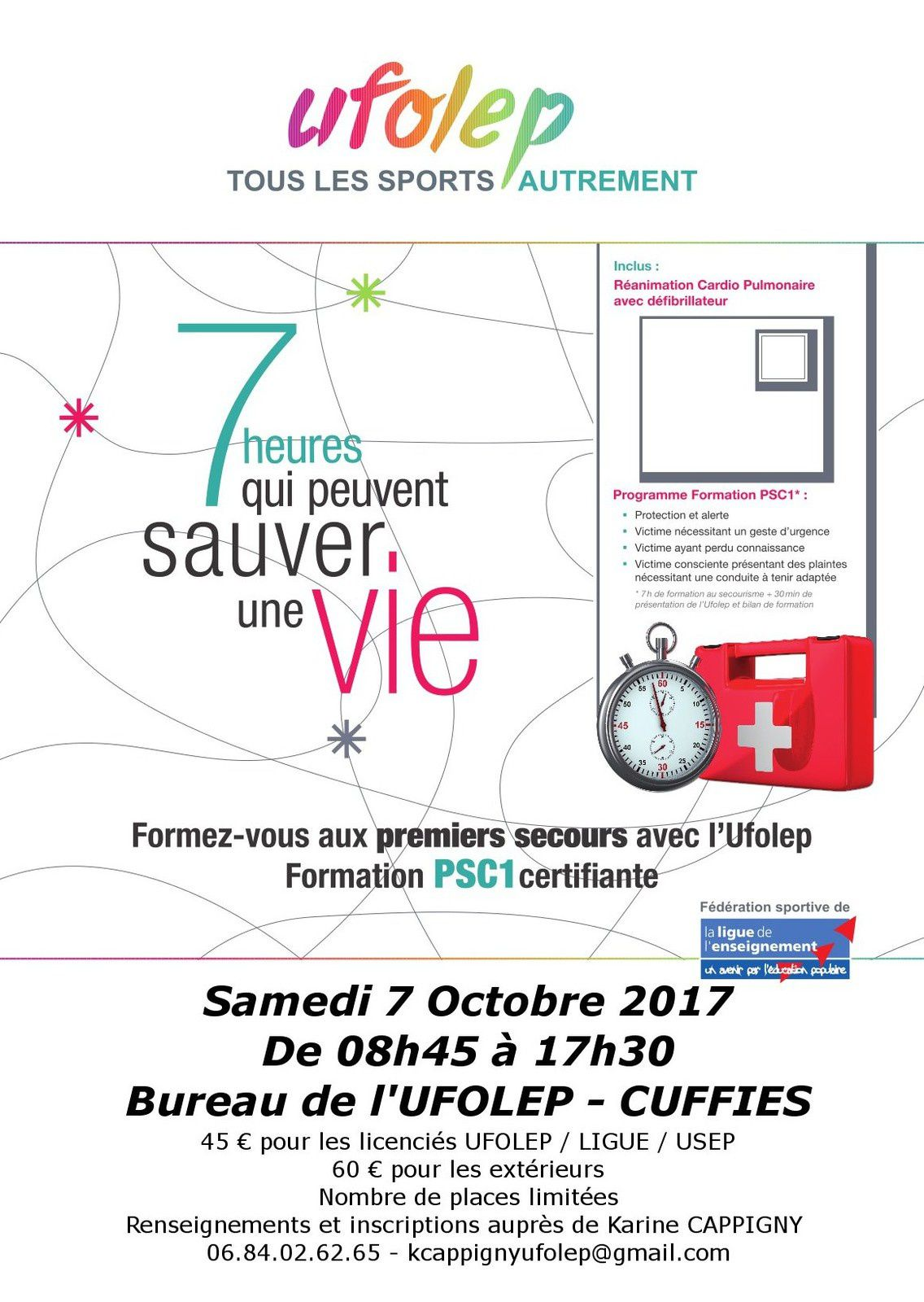 Formation Premiers Secours (PSC1) - Octobre 2017 - CUFFIES