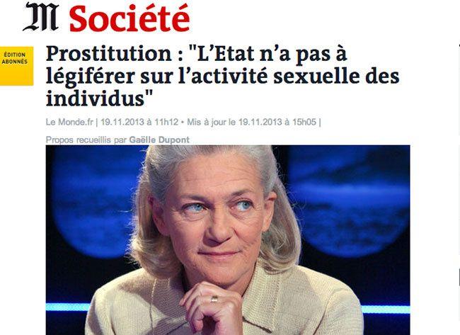 Prostitution : &quot&#x3B;L'Etat n'a pas à légiférer sur l'activité sexuelle des individus&quot&#x3B;