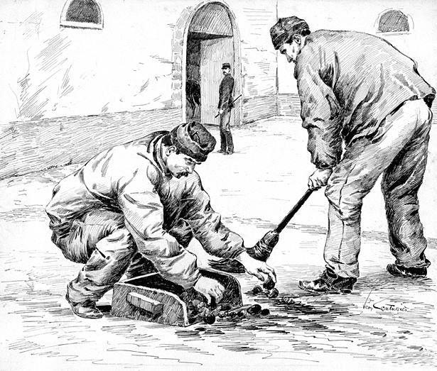 Scène de corvée dans une prison militaire, par Léon Couturier