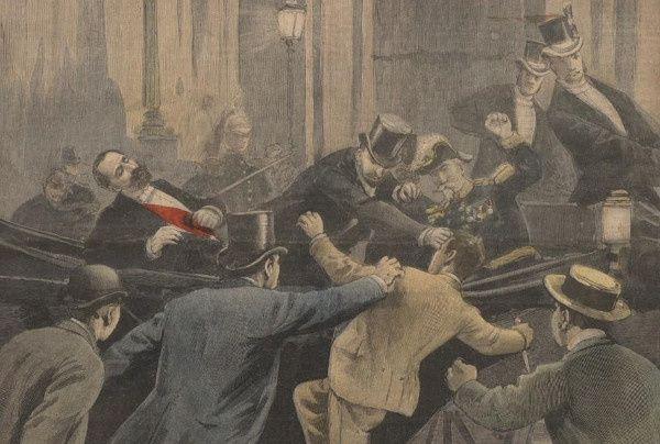 L'assassinat de Sadi Carnot en une du suplément illustré du Petit journal (détail). Wikicommons.