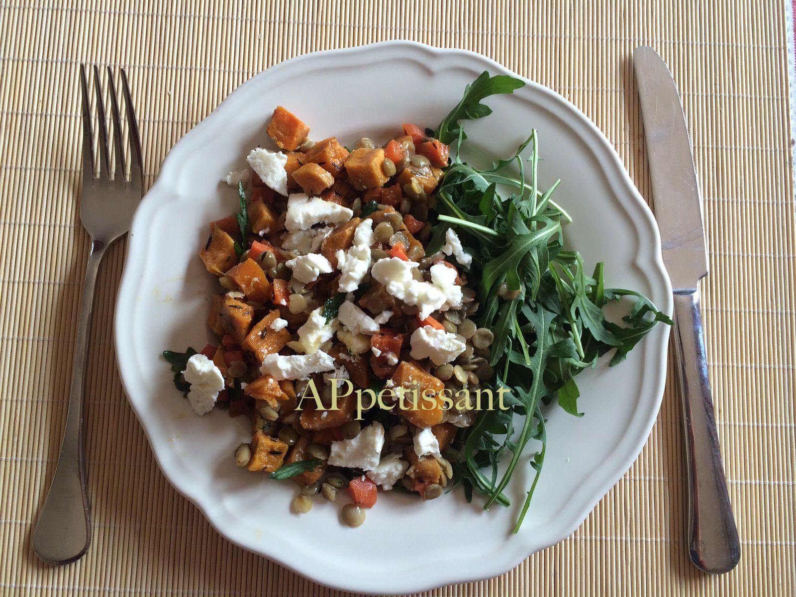 Salade de lentilles aux patates douces et à la fêta