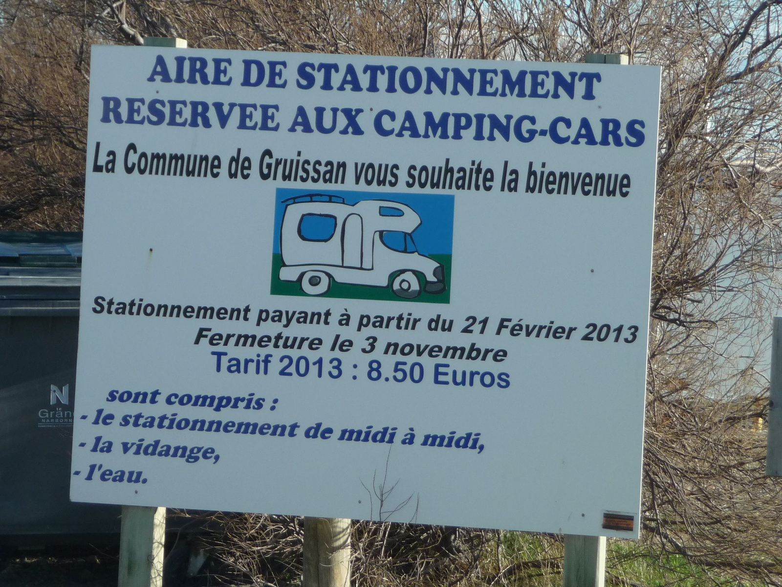 AIRE POUR CAMPING CARS A GRUISSAN ! Aude