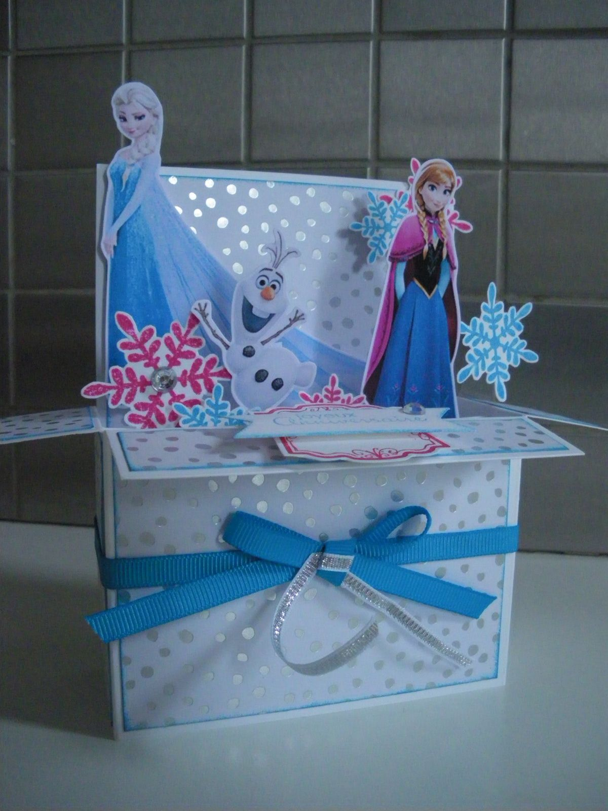 Carte Pop Up Reine des Neiges, Pop Up Card Frozen
