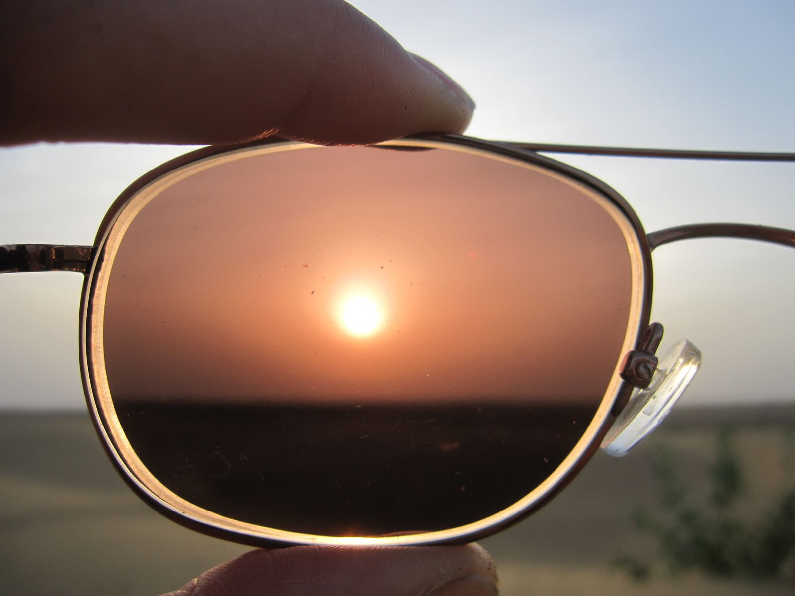 Sunrise through glasses