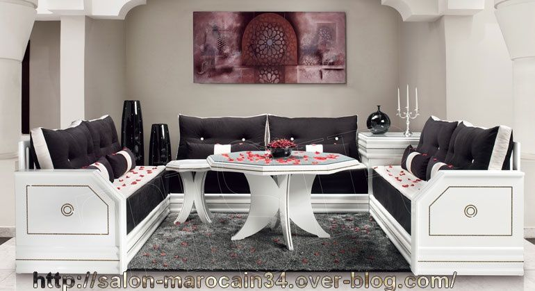 Salon avec fil de strass salon for Salon marocain blanc moderne