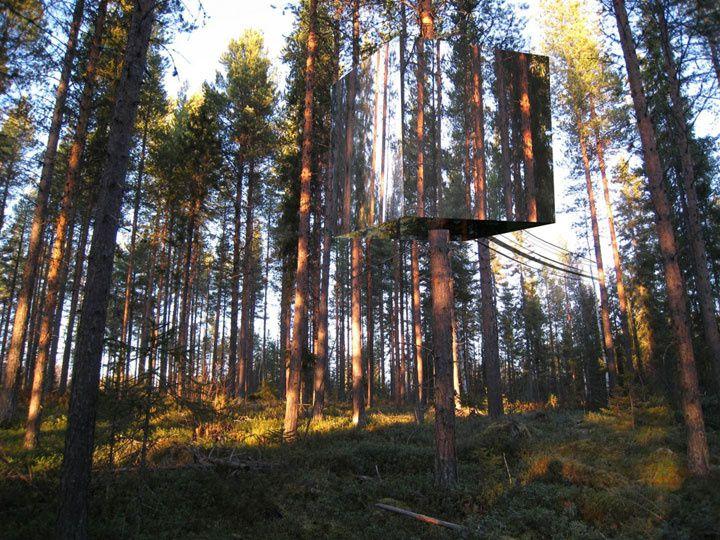 La cabane dans les arbres... presque invisible ! Suède