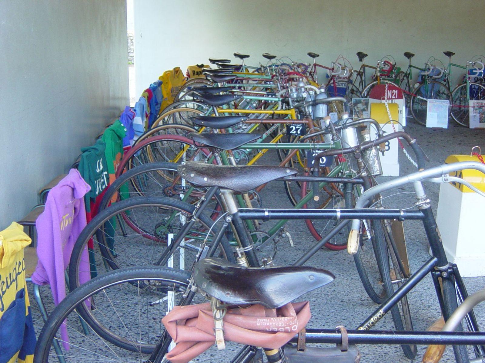 Au premier plan les vélos les plus anciens.