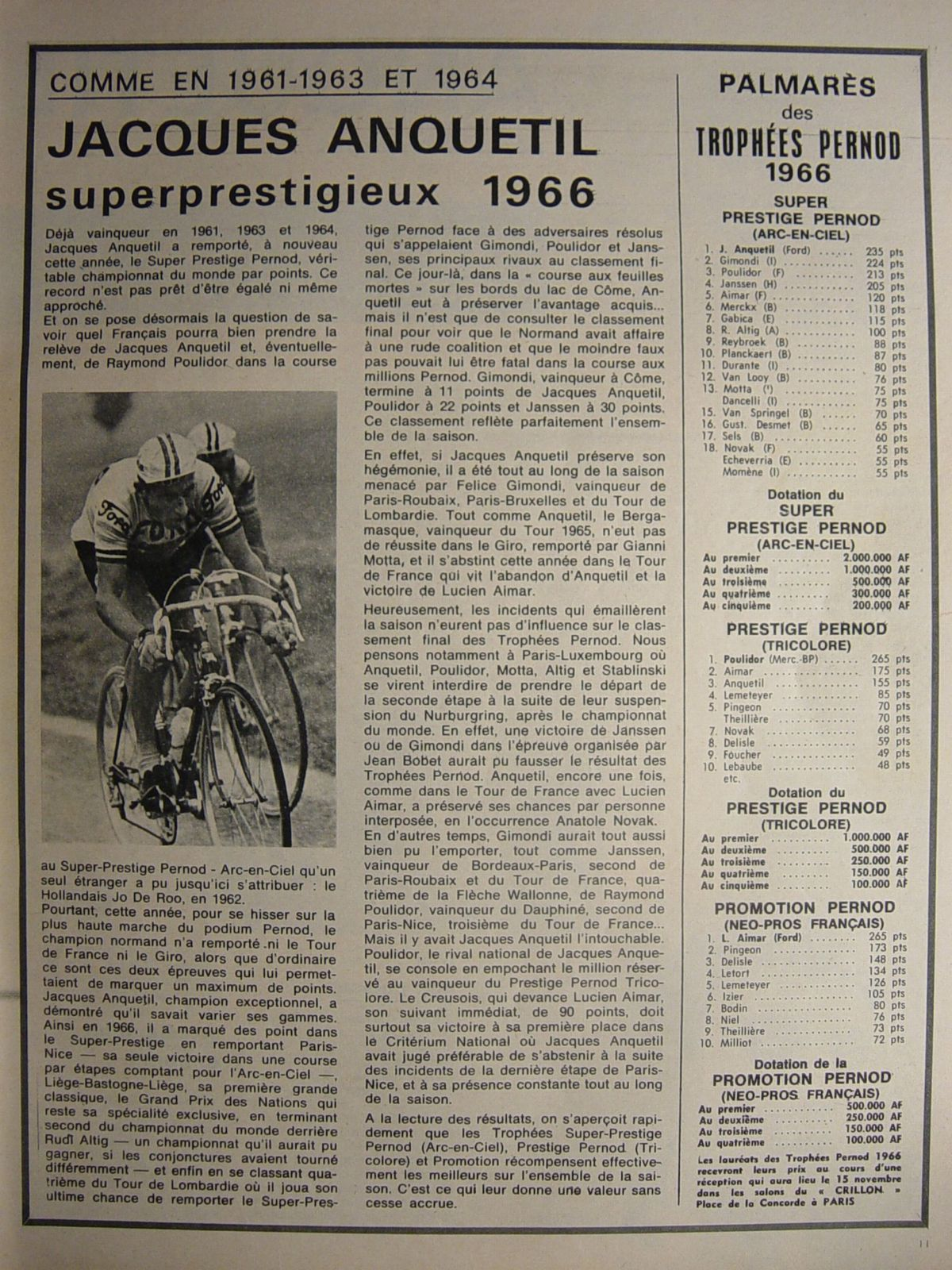 Vélo Jacques ANQUETIL 1966.