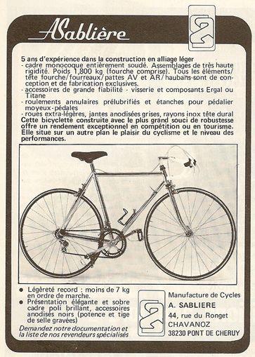 "Vélo André SABLIERE ""Robert Gibanel"" 1982."