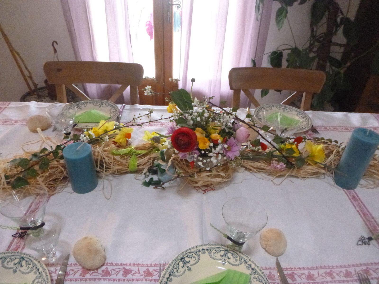 la chasse aux œufs et la table de pâques