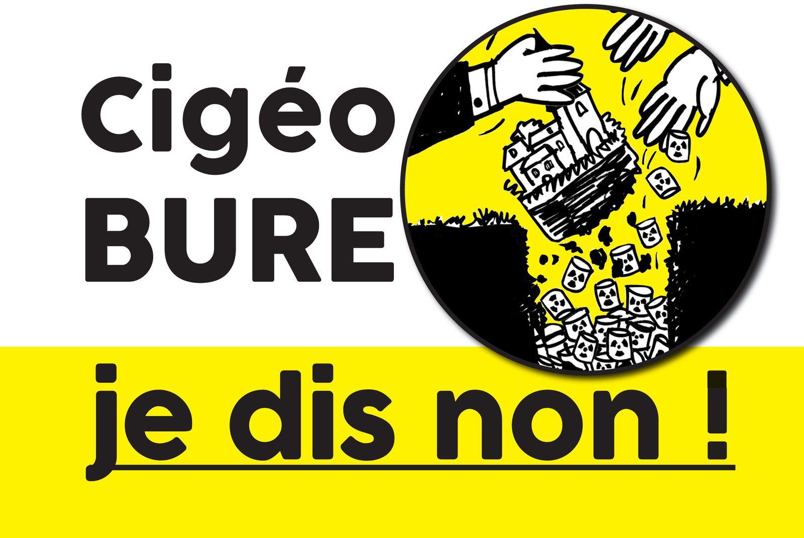 l'affichette pour leur montrer notre détermination Anti-CIGEO