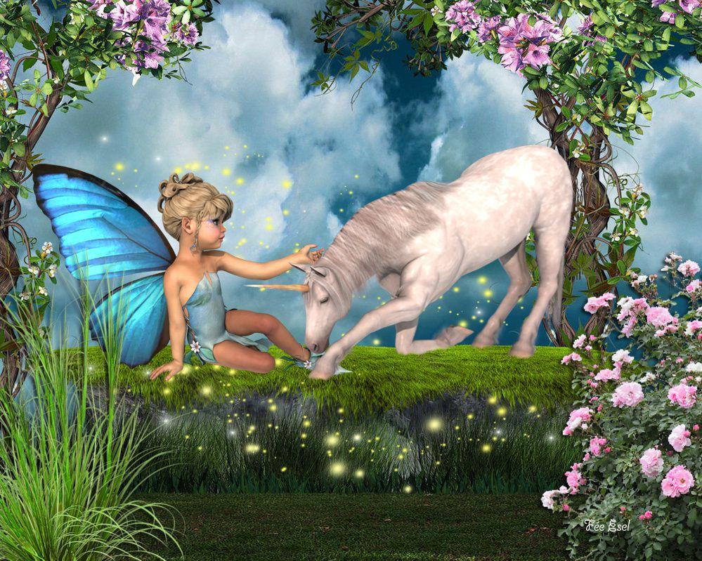 Paysage de Moonlowlilly et personnage et licorne de Kordouane