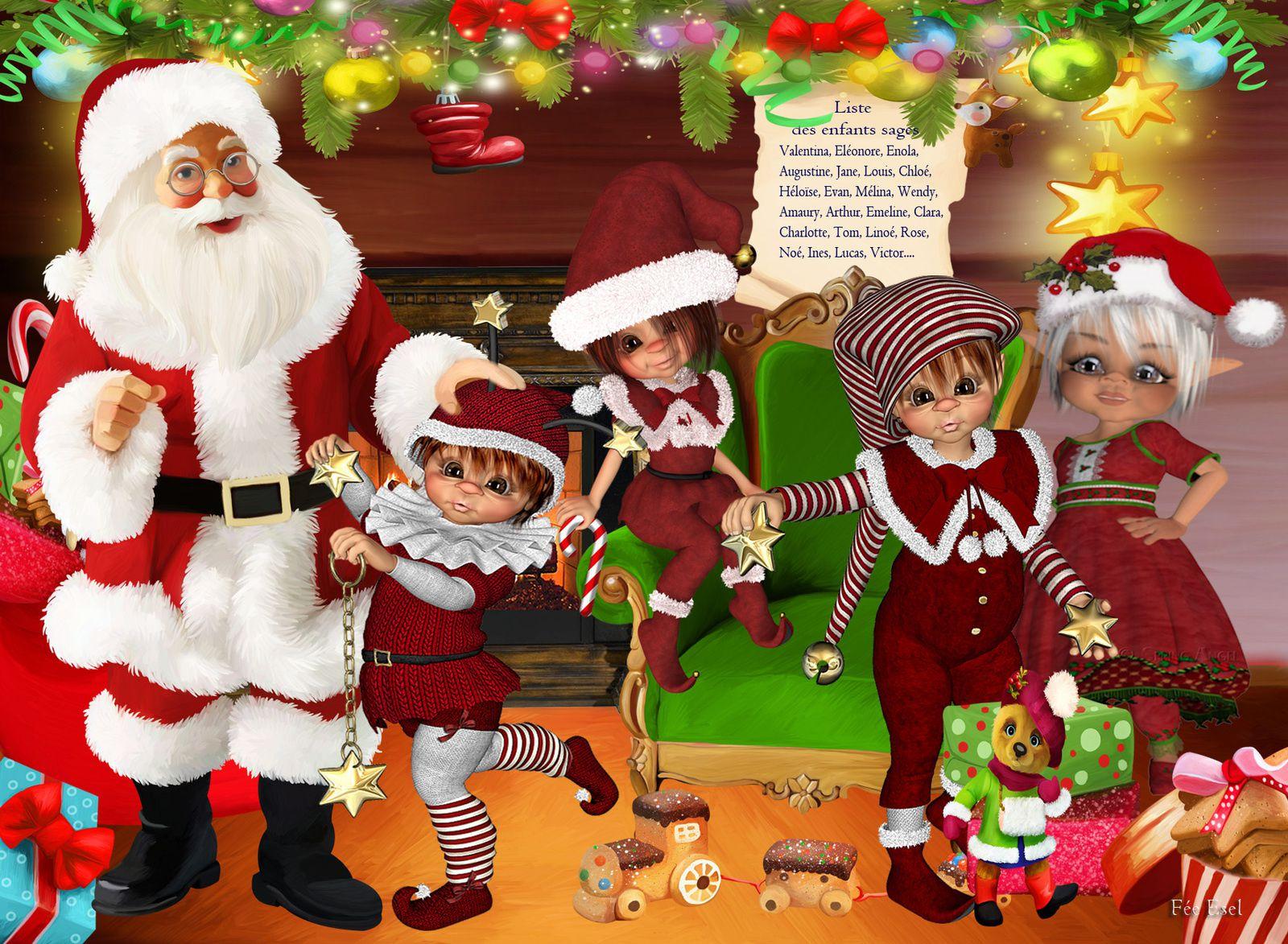 Création d'après un kit de Adika, personnage et maison (mon recueil d'images en png) Création atelier  du Père de Noël d'après un kit digital de Angi design