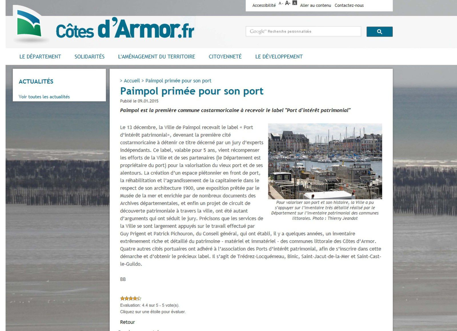"""Paimpol obtient le label """"Port d'intérêt Patrimonial"""", site internet du Conseil général des Côtes d'Armor"""