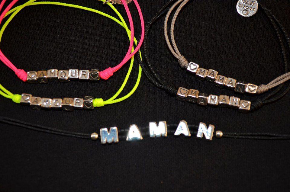 """Bracelets Gas """"amour"""", """"maman"""""""