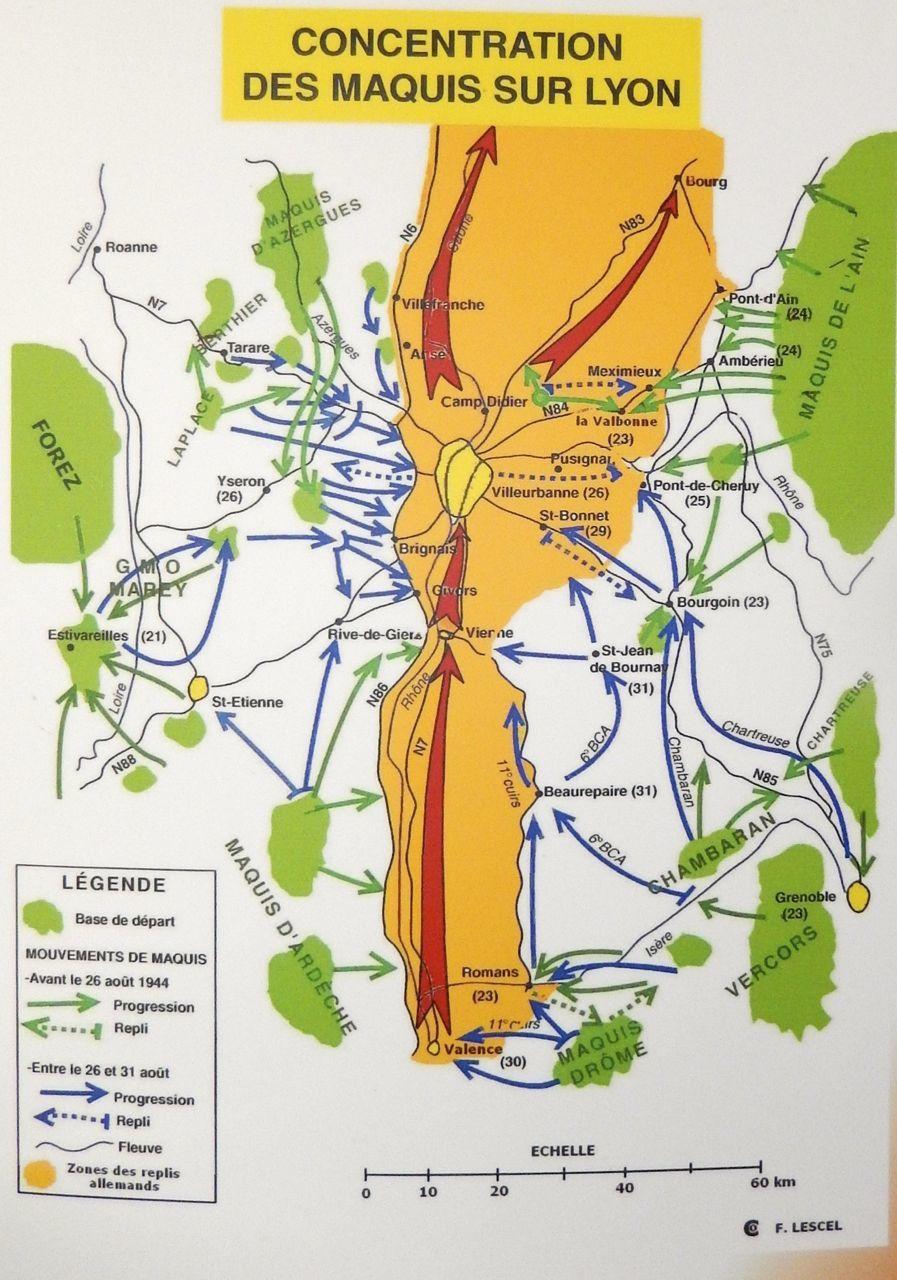 Cette  carte montre les mouvements des maquis sur Lyon   Combat du Maquis à St Bonnet de Mure  28 et 29 aout 1944 : Char allemand contre fusils, mitraillettes et bazooka   http://www.anacr-morestel.fr/combats_saint_bonnet_de_mure.html  Histoire du Maquis d'Ambléon et la libération de Lyon   http://vivreachirens.pagesperso-orange.fr/documents/dossiers/Ambleon.pdf