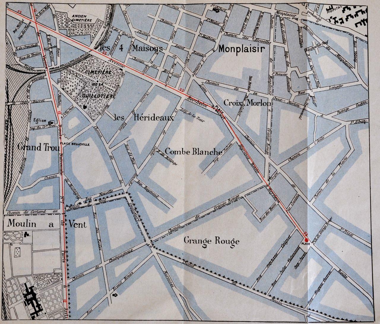 Elle est a comparer avec le plan de Lyon en 1914 &#x3B; Plan édité sur le guide historique et artistique  de l'Exposition de 1914 Le 7° devenu 8° etait la terre des rosieristes . Souvenir avec le mur peint Rue paul Santy / lien suivant