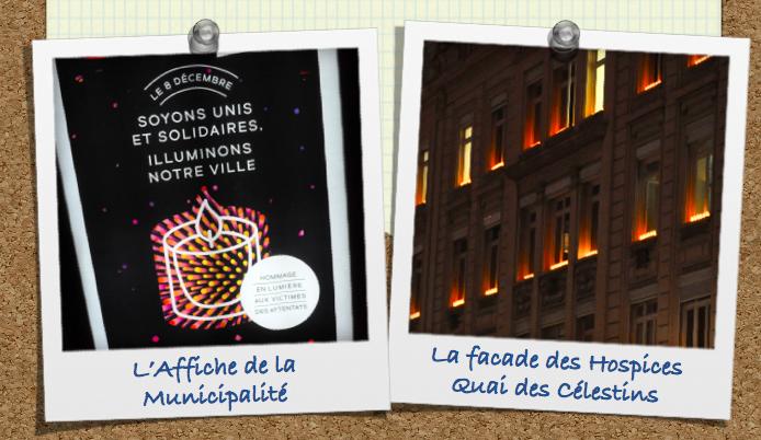 Lyon 8 décembre 2015 : Illuminations Hommage aux victimes du 13 novembre 2015