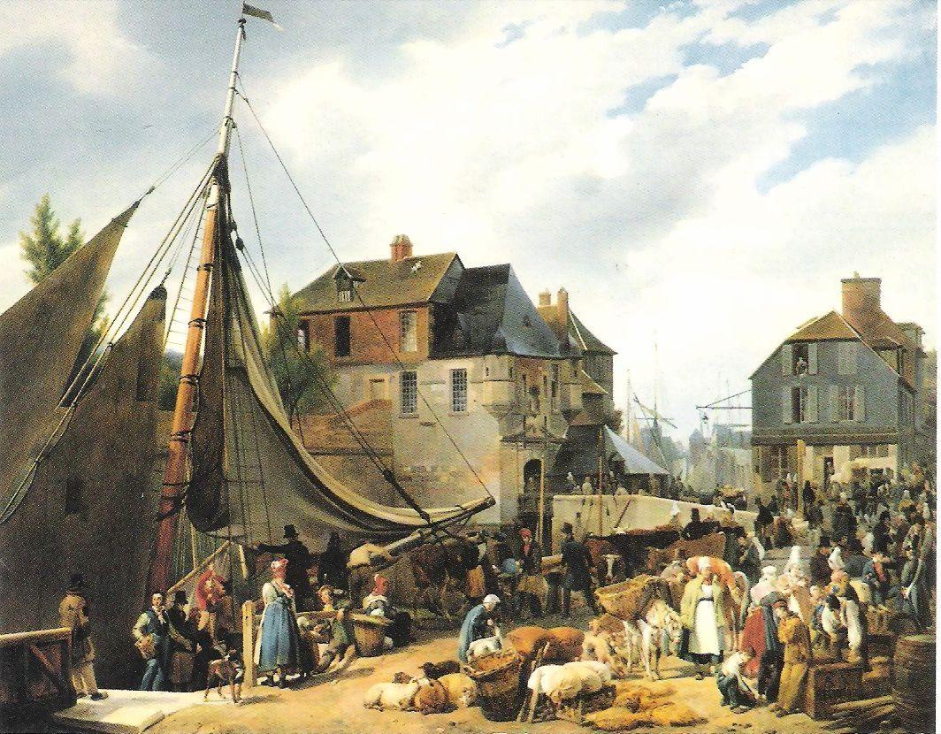 """Xavier Leprince: Embarquement de bestiaux à Honfleur sur le """" Passager """". Comme pour les « passagers » qui assuraient la liaison avant la vapeur, le débarcadère est devant l'hôtel du cheval blanc"""