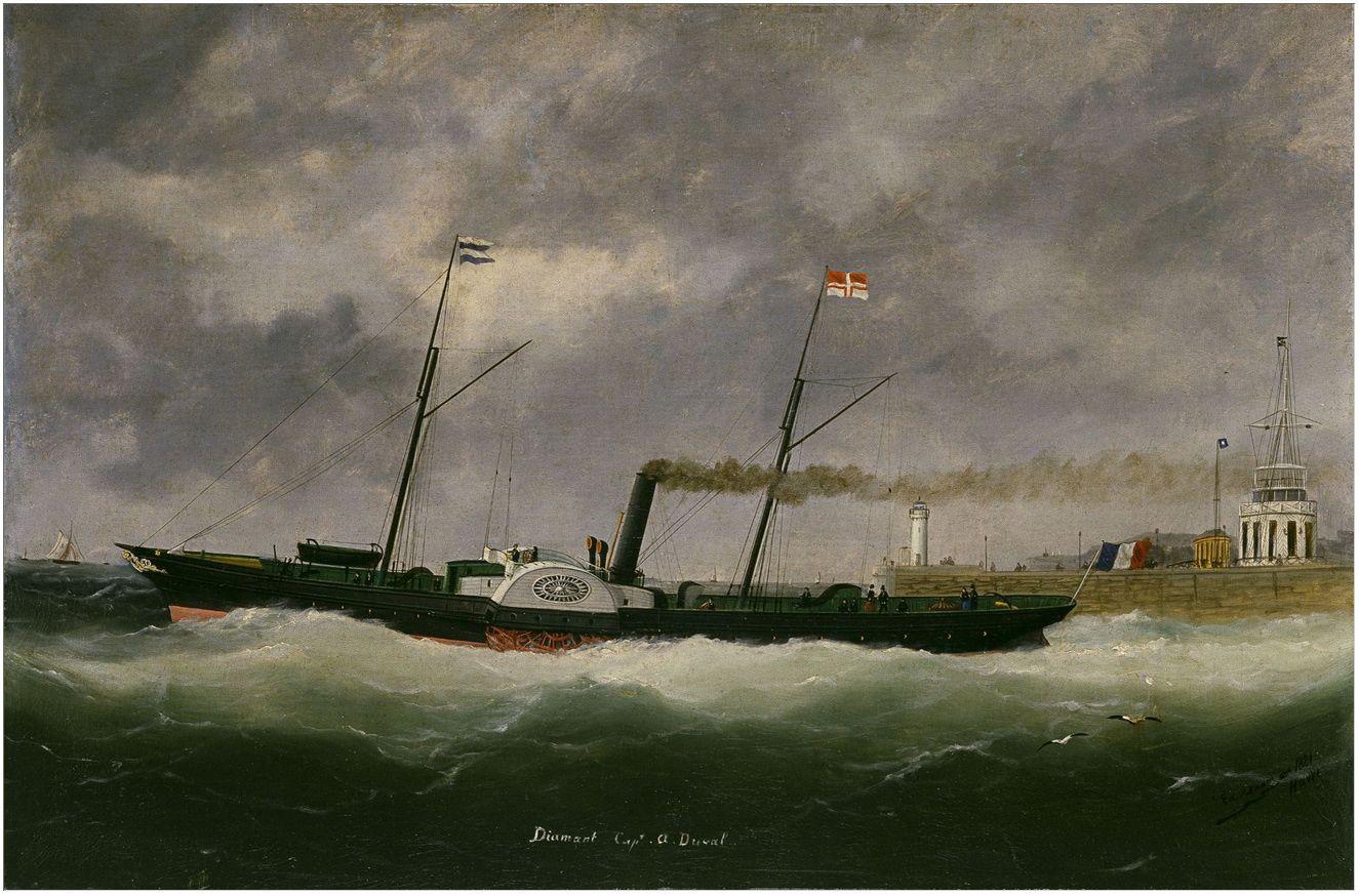 Le Diamant sortant du Havre . Source exposition  virtuelle du Musée de la Marine